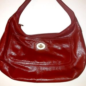 Coach red patent leather hobo